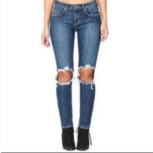 LF Carmar Black Knee Split Jeans Size 26